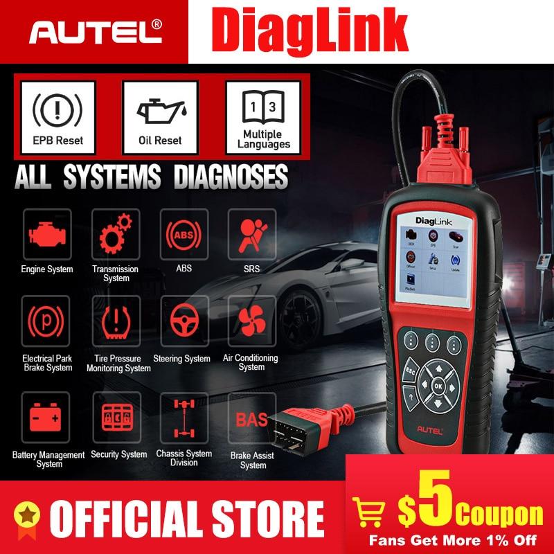 Autel DiagLink полная система OBD2 автомобильный сканер для диагностики инструмент OBD 2 считыватель кода EOBD двигатель ABS подушка безопасности Трансмиссия PK MD802 MD805-in Считыватели кодов и сканирующие инструменты from Автомобили и мотоциклы