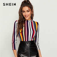 SHEIN Multicolor Mock-neck Form Fitted Striped Top Slim T Shirt Women Autumn 3/4 Length Sleeve Elegant Office Lady Tshirt Tops