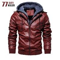 77City Killer Hot Sale Motorcycle Leather Jacket Men Oblique Zipper Outwear Windbreaker Faux Leather Jacket Male Euro Size S 3XL
