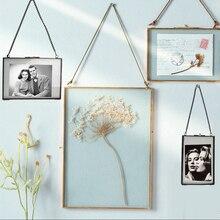 1 pieza marco colgante para foto de cristal de doble cara de alta calidad Marco de pared flor muestra de planta portarretrato