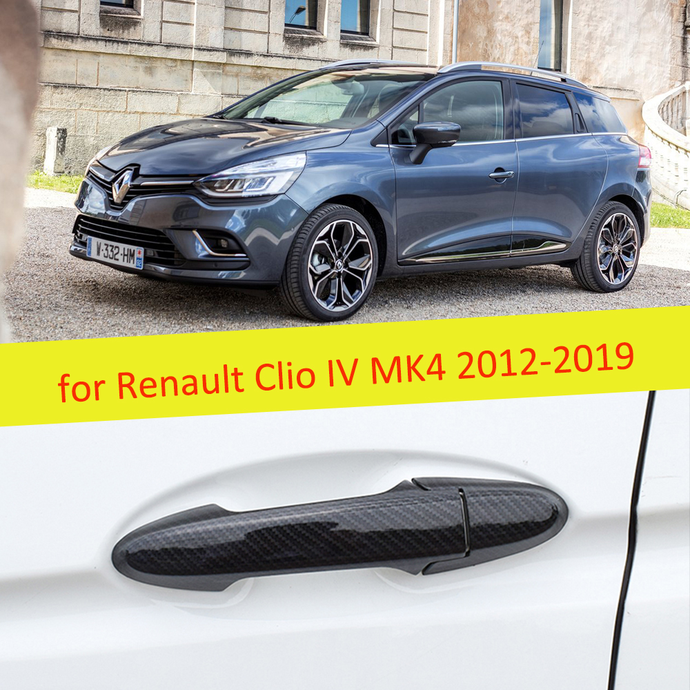 2 PCS Carbon Fiber Door Handle Cover Catch Trim Car Accessories For Renault Clio IV MK4 2012 2013 2014 2015 2016 2017 2018 2019