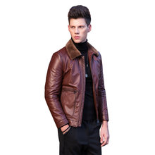 Genuine Leather Jacket Winter Jacket Men Real Wool Fur Collar Cow Leather Jackets and Coats Bomber Jacket MC17D011 MY1722(China)
