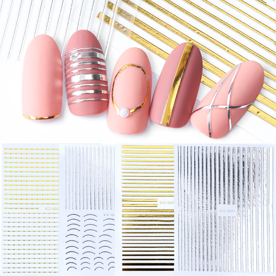 Image 2 - 1pcs Nail Sticker Gold Silver Metal Curve Strip Lines Adhesive Striping Tape Multi size 3D Stickers For Manicure JISTZ G001 013-in Stickers & Decals from Beauty & Health