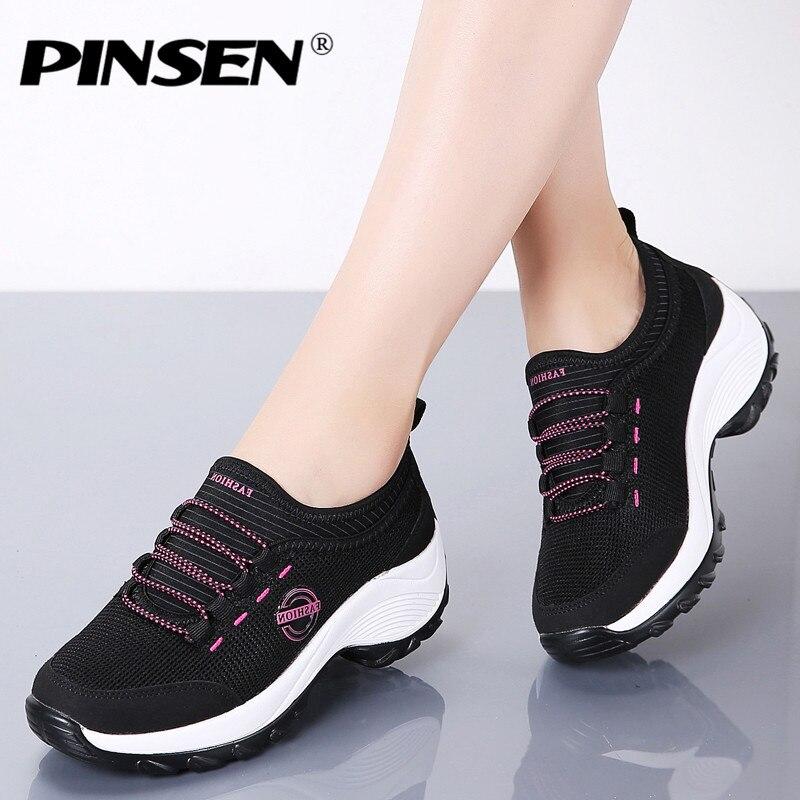 Pinsen 2020 mulher plataforma plana tênis respirável malha sapatos casuais das sapatilhas das senhoras confortáveis andando sapatos de barco