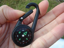 Multifunctional Mini Compass Keychain Luminous Night Light Hanging Key Ring Compass  Camping Metal Zine Alloy Carabiner