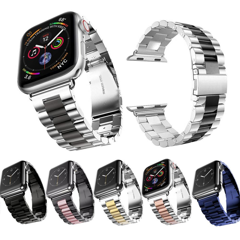 NEW Three Bead Metal Strap For Apple Watch 42mm 38mm 3 2 1 Stainless Steel Bracelet Fashion Band For IWatch Series 4 5 40mm 44mm