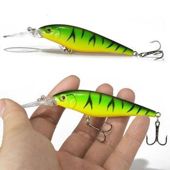 1 sztuk kolorowy pasek wzór 11cm 10.5g twarda przynęta Minnow smuga przynęty Bass świeżej wody hak nurkowanie okoń wobbler ryby