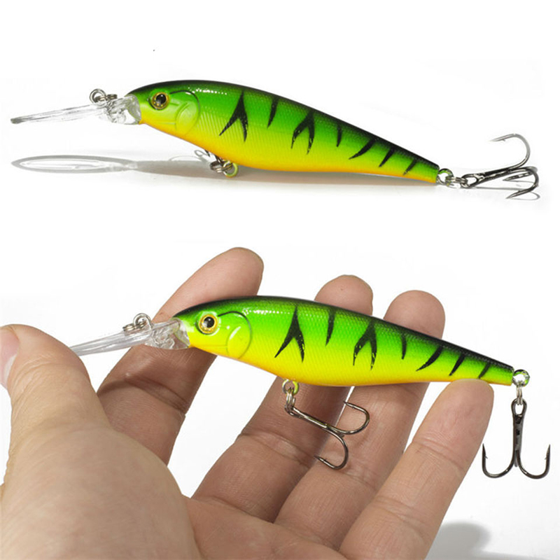 1PCS Colorful Stripe Pattern 11cm 10.5g Hard Bait Minnow Streak Fishing Lures Bass Fresh Water Hook Diving Perch Wobbler Fish