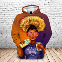 New Arrival 2020 Black Girl Funny 3D Hoodie Loose Pullover Long Sleeve Sweatshirt Fashion Cool Coats Streetwear Women hoodies