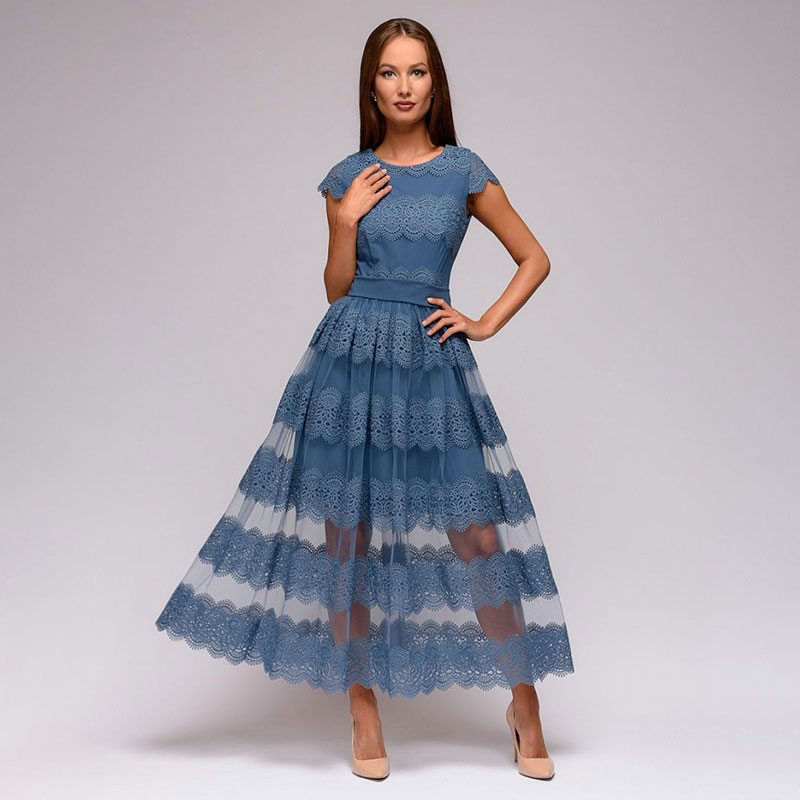 Women Lace Patchwork A Line Vintage Dress Ladies Short Sleeve O Neck Elegant Office Lady 2020 Spring Summer Hot Sale Fashion
