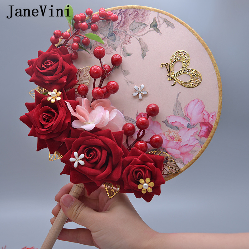 JaneVini New Unique Fan Type Chinese Style Wdding Bouquets Jewelry Bridal Flowers Artificial Red Silk Rose Wedding Accessories