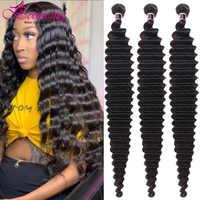 Extensiones de cabello humano con ondas profundas para mujer mechones de cabello brasileño de 8-40 pulgadas, 100% de trama de cabello humano Remy