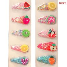 10PCS New Fruit Transparent Baby Girls Hair Clip Sequin Hearts Accessories Colorful Children Kids Barrettes
