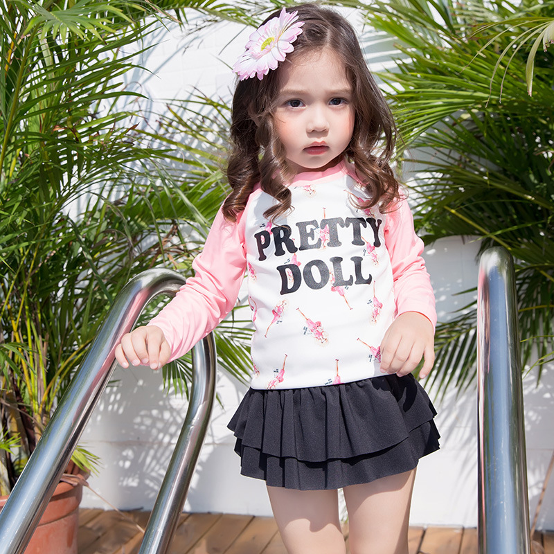 KID'S Swimwear Barbie Girls Split Type Tour Bathing Suit Long Sleeve Sun-resistant Skirt Bathing Suit Baby Girls Large Children