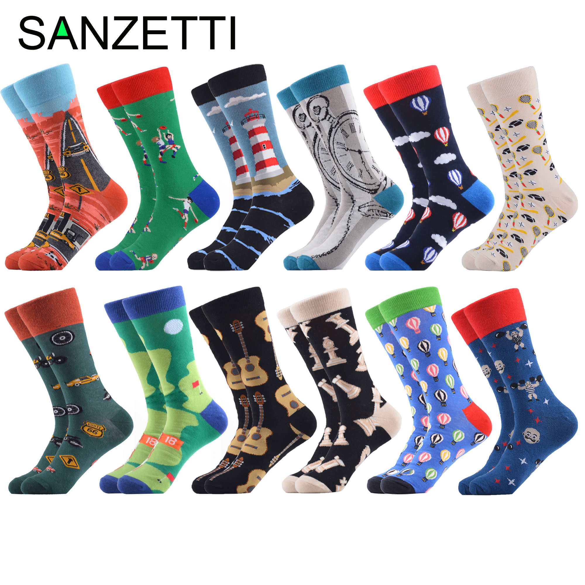 SANZETTI 12 Pairs Fashion Men's Skateboard Socks Long Leisure Creative Funny Male Cotton Dress Casual Design Party Sport Socks