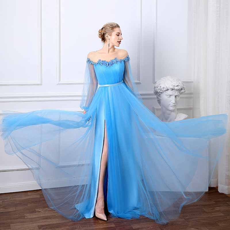 Sevintage Blue Real Photos Long Puff Sleeves Evening Dress Satin Tulle High Split Prom Gowns 3D Flowers Women Party Dresses 2020