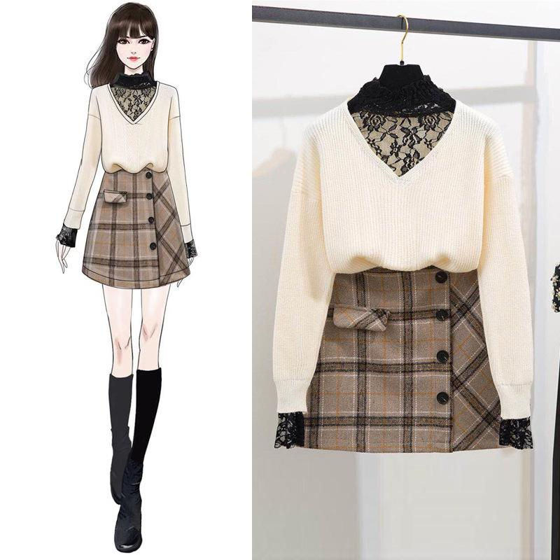 ICHOIX 2 Piece Winter Outfits Elegant Women Two Piece Set Lace Patchwork Sweater Korean Style Tops And Skirt Set Girl Suits