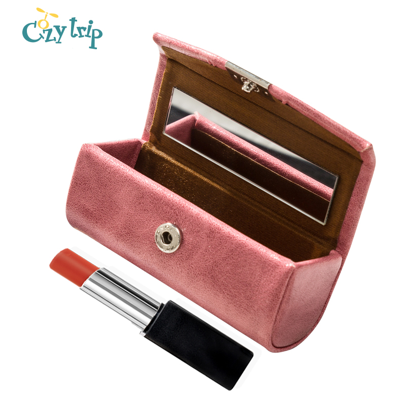 Small Lipstick Case With Mirror Travel Portable Lip Gloss Holder Soft Leather Lipstick Organizer Bag For Women Ladies