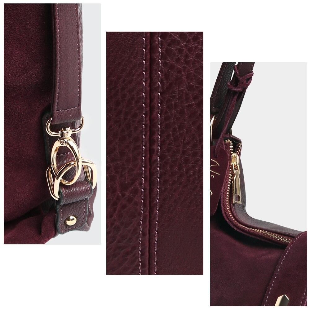 Real dividido de cuero de gamuza bolso de hombro bolsa de ocio femenino Nubuck Casual bolso Hobo mensajero Bolsos de la manija - 4