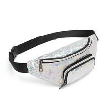 Sequins Holographic Feminina Waist Pack Women's Laser Chest Waist Bag Women Belt Bag Bum Bag black sequins embellished bum bag with waist belt