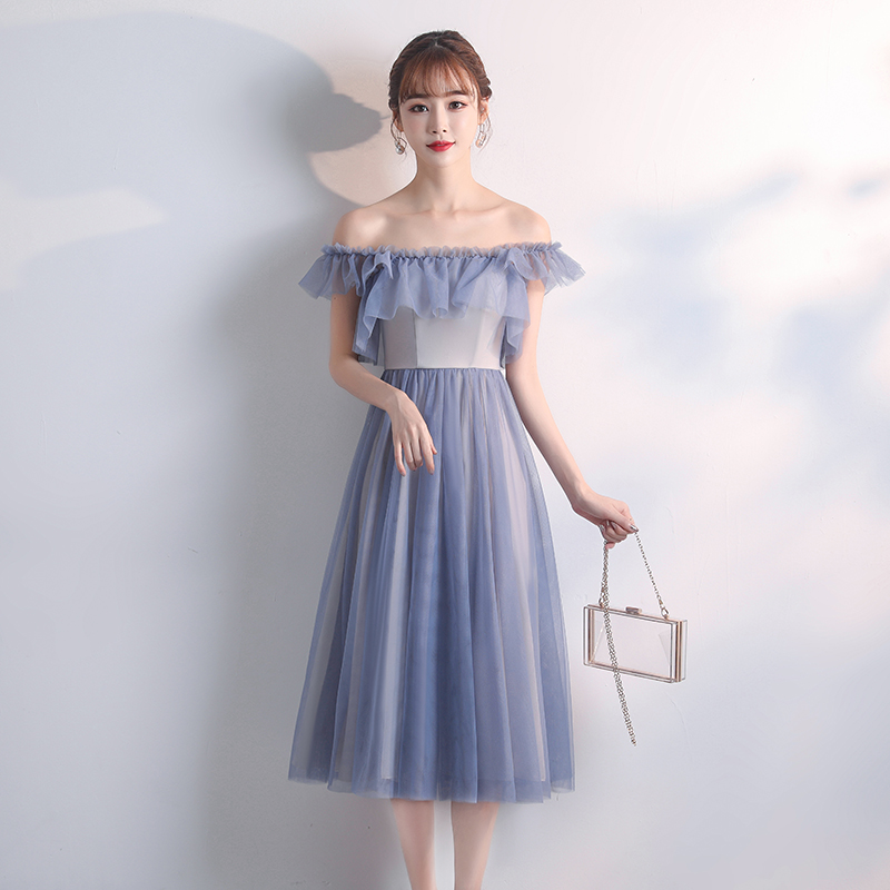 A-Line Tea-Length Bridesmaids Dress For Women Wedding Party Dress Plus Size Tulle Vestido Azul Marino Sexy Dress Prom Azul Royal