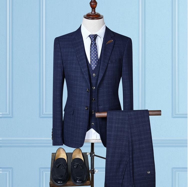 (Jacket+Vest+Pants)2019 High Quality Fashion Causal Woolen Grid Men's Suits,Wedding Dress Suit Men,Business Male Suit Full Size