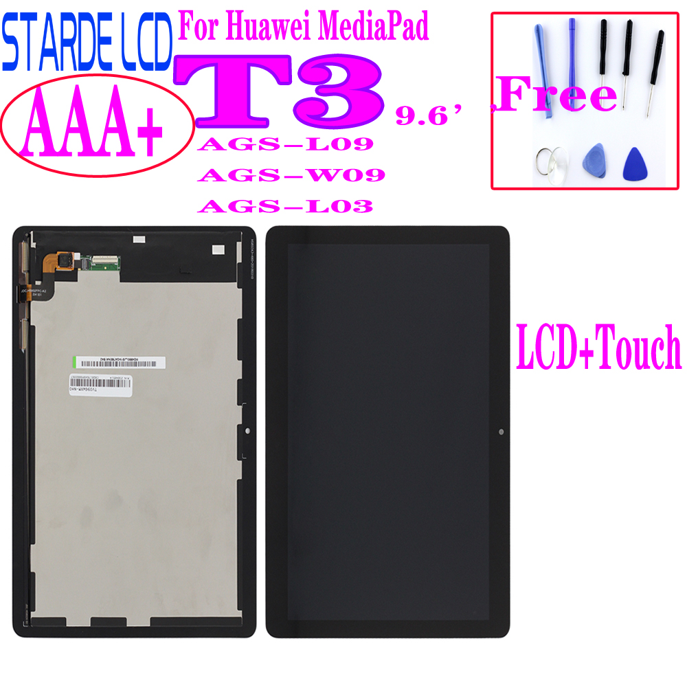 Color: Black Calvas For Huawei Mediapad T3 10 AGS-L03 AGS-L09 AGS-W09 LCD Display Screen Module Replacement