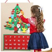 New Christmas Felt Advent Calendar with Pocket Christmas Tree Ornament Wall Hanging DIY New Year Christmas Decoration все цены