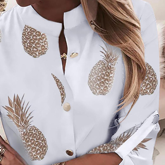Puimentiua Pineapple Blouse Women's Shirt Ananas White Long Sleeve Blouses Woman 2019 Womens Tops and Blouse Top Female Autumn