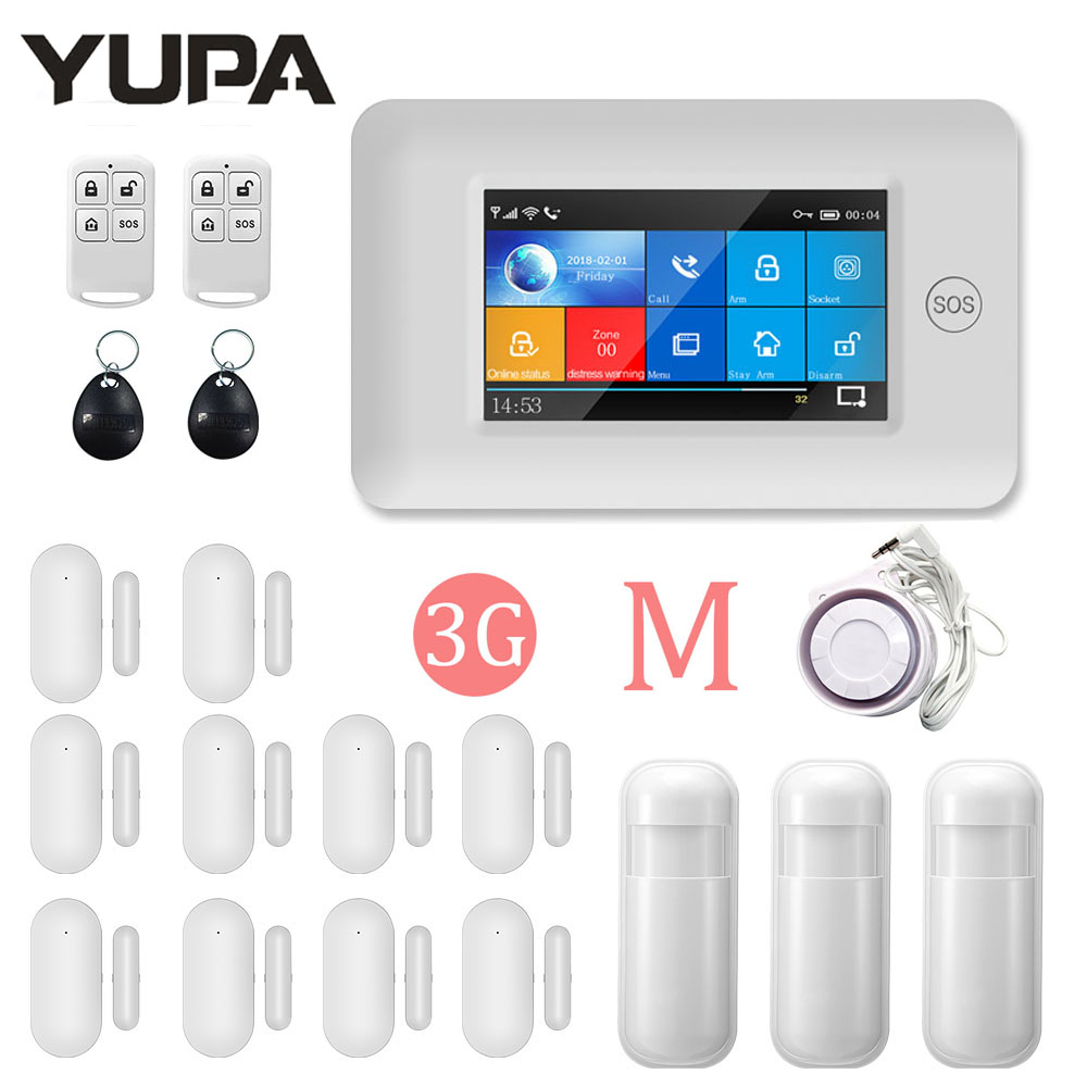 YUPA 3G GSM Wireless GPRS Home Security Alarm System  App Remote Control TFT All Touch Screen For IOS Android Burglar Anti Theft
