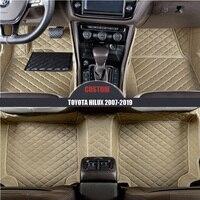 Custom leather Car Floor Mats For TOYOTA Hilux 2007 2014 2015 2016 2017 2018 2019 Custom auto carpet waterproof car accessories