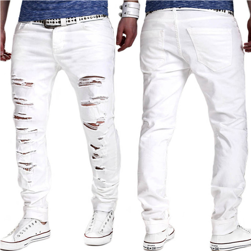 Jeans Spring And Summer New Style Europe And America Men's White Hole Washing Baggy Pants Slim Fit Skinny Pants