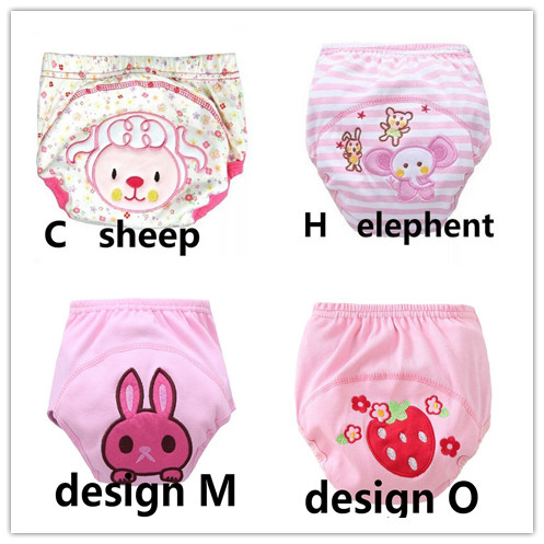 4Pcs Size 100 Baby Training Pants Cotton Reusable Baby Diapers Cloth Nappies Washable Diapers Bamboo Learning Pants 12--16kg