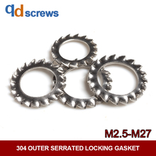 304 M2.5-M27 outer serrated locking stainless steel gasket DIN6798A