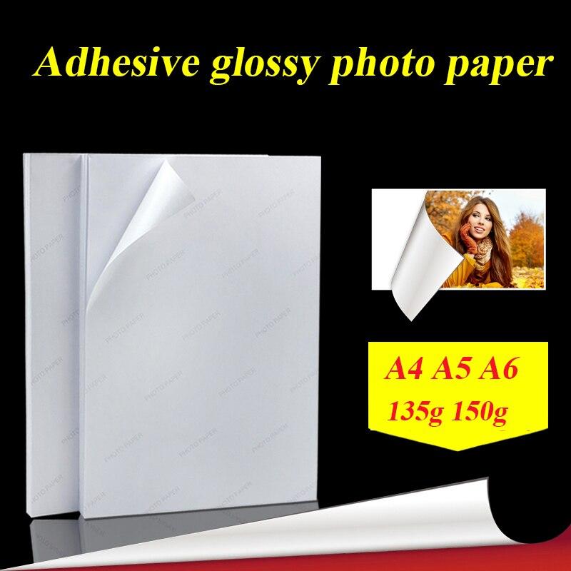 A4 50 hojas A5 A6 100 hojas 135g 150g de alto brillo, impresión de inyección de tinta autoadhesiva con adhesivo de pegamento trasero, papel fotográfico