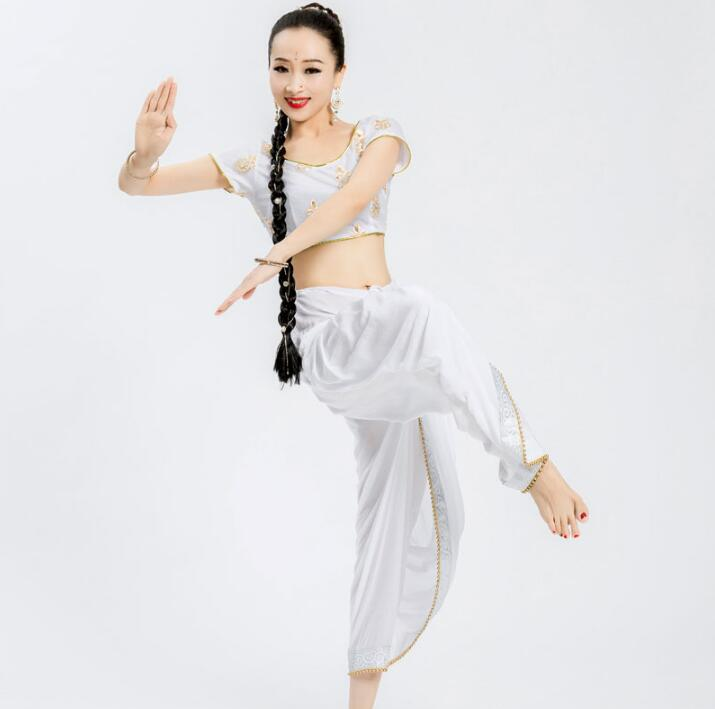 Woman India Sarees Costume Ethnic Style Kurtas Leng Ha Skinny Performance Dance Top+Pants