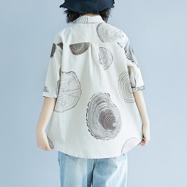 Women Plus Size Shirt Ladies Casual Printed Loose Blouse Tops Female 2019 Summer Shirt 4