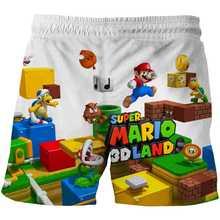 Verão crianças shorts menino esportes casuais shorts mario moda 3d dos desenhos animados shorts mario irmãos bonito menino menina calções de secagem rápida