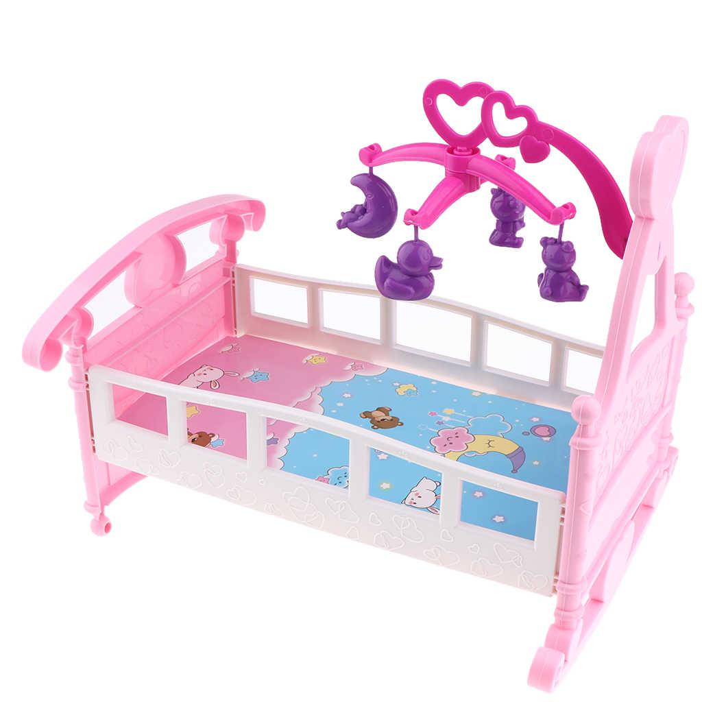 Warna-warni Simulasi Mini Bayi Boneka Tidur Boks Rocking Horse Model untuk Mellchan Bayi Dolls House Furniture Aksesori Perakitan