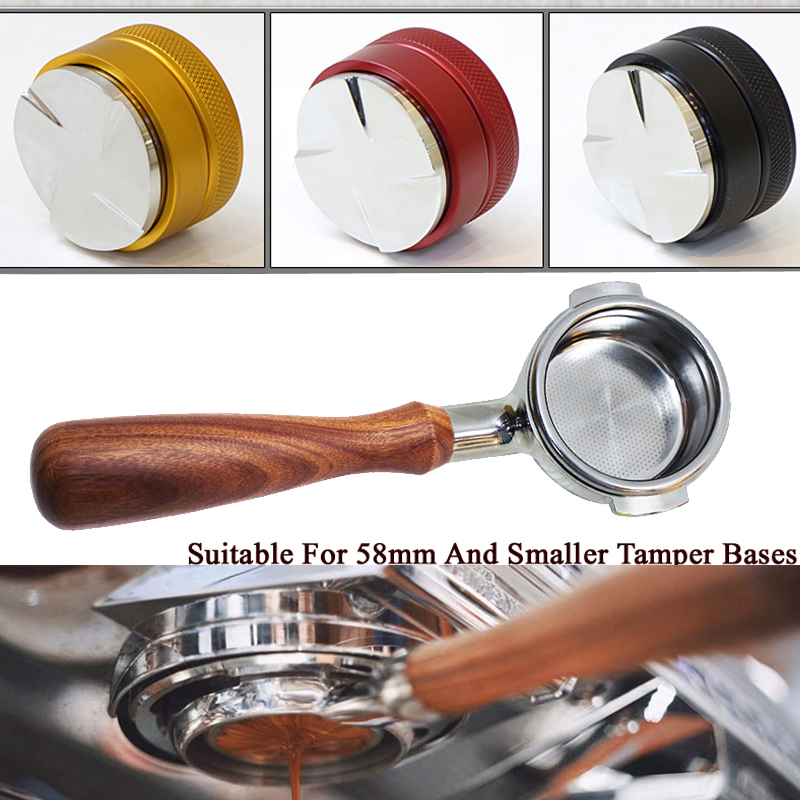 Coffee Tamper 51/58mm Adjustable Height Powder Hammer Coffee Distributor Coffee Distribution Tool Bottomelss Naked Portafilter