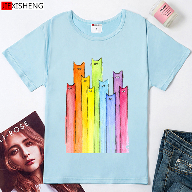 Cute Colorful Long neck Cat printed Women t shirt Casual White Tee Tops Short sleeve O-neck Tee Shirt Femme 4