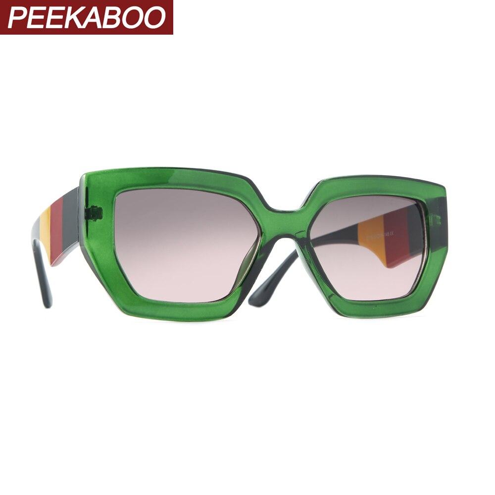 Peekaboo Blue Green Cat Eye Sunglasses Square Women 2020 Summer Beach Uv400 Fashion Sun Glasses For Women Cheap Accessories