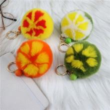 Fur Orange Pendant Plush Phone Keychain Lanyard Fashion Fur Simulation Fruit Jewelry Pendant