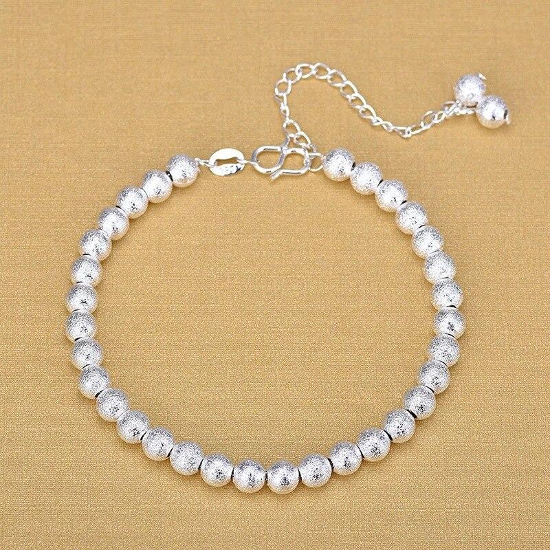925 Sterling Silver Fashion Bracelets Fine Bracelet Matte Round Beads Silver Bracelet For Women 2020 Gift