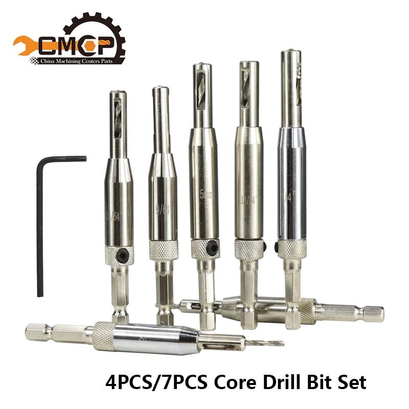 4PCS/7PCS HSS Self Centering Hinge Drill Bits Set Wood Drilling Door Window Pin Cabinet Woodworking Drilling Core Drill Bit