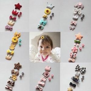 5Pcs/Set Cute Cartoon Princess Hairpin Kids Girls Hair Clips Bows Barrette Accessories for Children Hairclip Headdress Hairgrips(China)