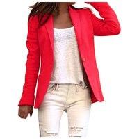 Осеннее женское офисное пальто с длинным рукавом, блейзер с открытым передом, короткий кардиган, модный пиджак размера плюс, Блейзер 2019