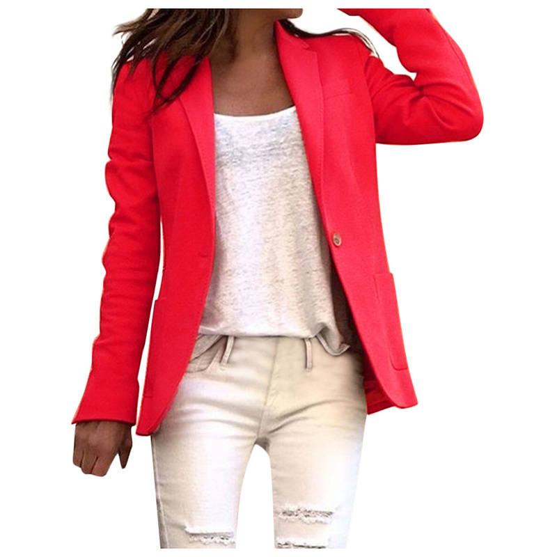 Autumn Women Work Office Coat Long Sleeve Blazer Open Front Short Cardigan Suit Trendy Jacket Plus Size Blazer Blazer 2019