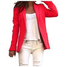 Autumn Women Work Office Coat Long Sleeve Blazer Open Front Short Cardigan Suit
