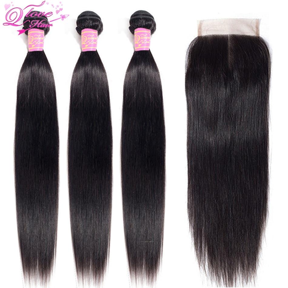 Queen Love Hair Peruvian Straight Hair Bundles With Closure Hair Weft 3 Bundles With Closure Non Remy Hair With 4*4 Lace Closure